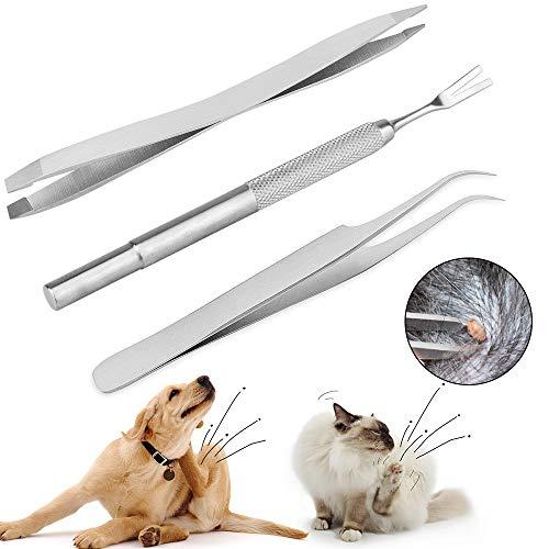 Sporgo 3 Stück Zeckenzange,Zeckenzange für Hunde,Zeckenkarte,Wurmkur Katze Spot on,Zecken Katze mit Aufbewahrungs Box