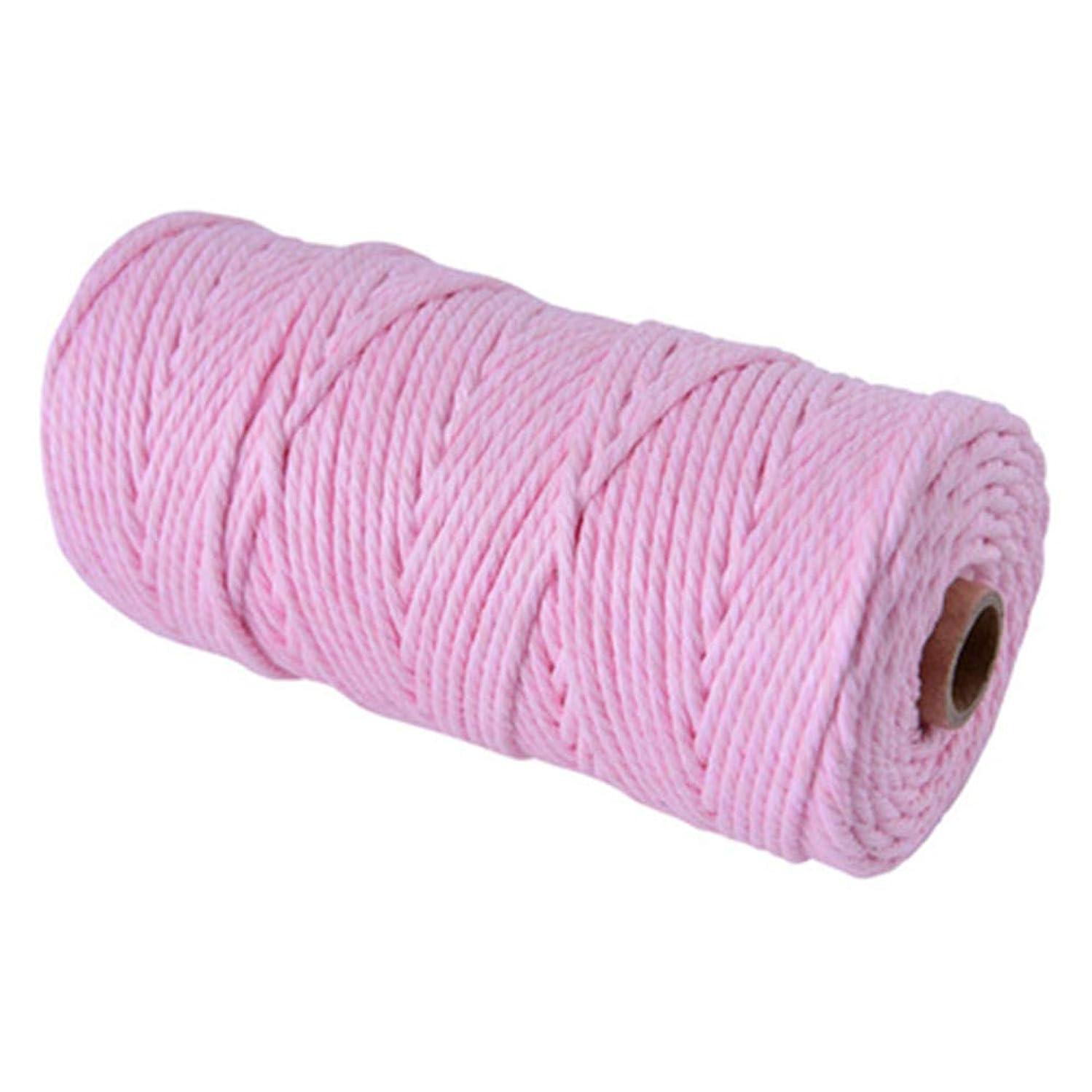 Natural Macrame Cord,Light Pink 3mm Cotton Macrame Wall Hanging Plant Hanger Craft Making Knitting Cord Rope (Light Pink, 3mm)