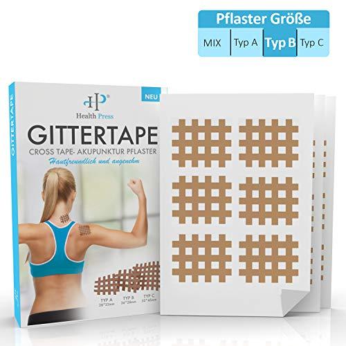 Gittertape Cross Tape – Original Health Press – Größe Typ B – Gitterpflaster Akupunkturpflaster mit ausführlicher E-Book Anleitung zum Download