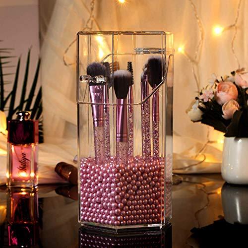 ZWOOS Kosmetik Organizer, Staubdicht Schminkpinsel Aufbewahrung Make Up Aufbewahrung Pinselhalter Kosmetik Make Up Cosmetics Lipsticks Make-up-Organizer mit Rosa Perlen