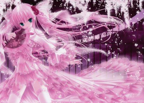 Fototapete Nippon Collection, pink-farbene Frau mit Fächer, unübertreffliche Leichtigkeit, Kirschblüten, 6 Bahnen hochwertige Vliestapete, 279 x 200 cm