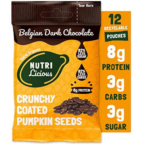 Organische dunkle schoko kürbiskerne – Keto-snack, Low carb, Reich an Proteinen, Wenig Zucker, Milchfrei, Reich an Ballaststoffen, Gesunde snacks (12 x 30g)