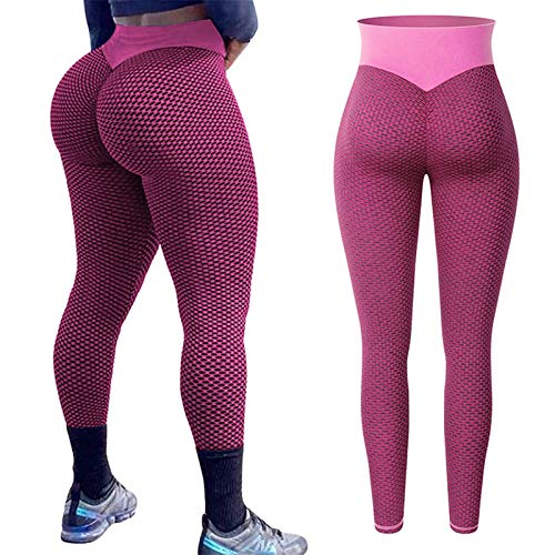 WANGJINQIAO Leggings de Cintura Alta de Las Mujeres espesas Fitness Leggings a Tope Levantamiento sin Fisuras Leggings Entrenamiento Pantalones de Gimnasio Leggins Mujer (Color : Pink, Size : M)