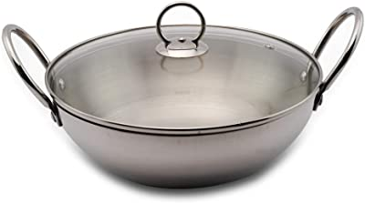 Blueberry's 24 cm Stainless Steel Body, Quality Glass lid Kadai Pan (Silver)