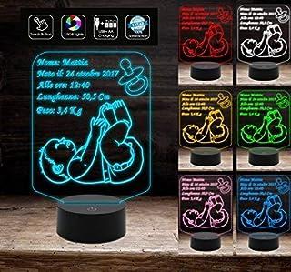 Idea regalo NASCITA bambino bambina Lampada 7 colori personalizzabile con nome