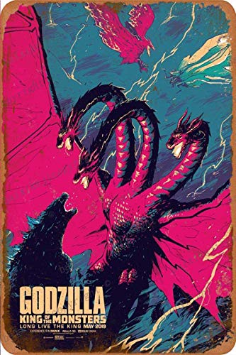 Godzilla King of Monsters Art illutration Cartel Retro de hojalata, Cartel Vintage, Placa, decoración de Pared para Bar, cafetería, jardín, Dormitorio, Oficina, Hotel, 20X30 cm
