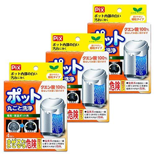 【まとめ買い】ピクス 電気・保温ポット用洗浄剤 クエン酸100% 細粒タイプ 30g×4包入り×3個セット