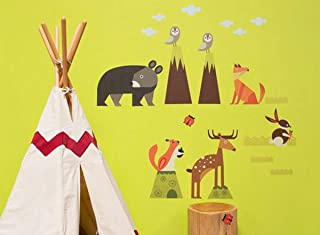Oopsy Daisy 54 by 30-Inch Peel and Place Woodsy Critters by Carmen Mok, Medium