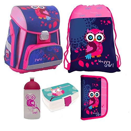 Eule Owl 5 Teile Set Schulranzen RANZEN TORNISTER FEDERMAPPE Tasche Brotdose mit Sticker von kids4shop