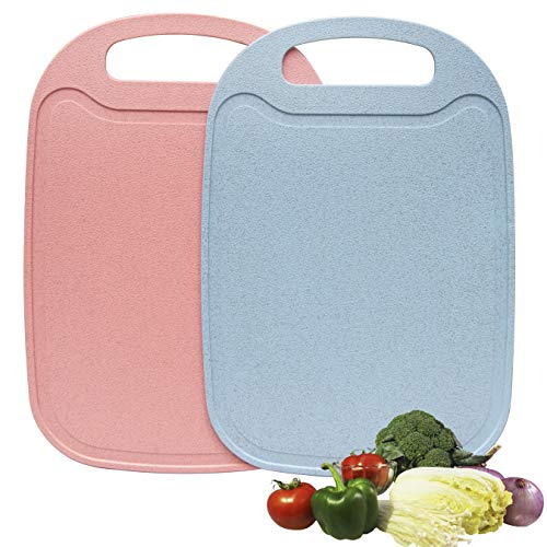 EDELIN Cutting Board for Kitchen with Easy Grip Handle w/Juice Grooves and Dishwasher Safe | BPA-Free, Easy To Clean, 2 Pcs