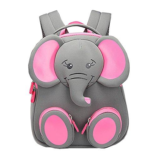 Cool&D Baby Rucksack Kindergarten Rucksack Cartoon Muster Schultasche Anti-verloren Rucksack für Jungen und Mädchen 1-3 Jahre (Rosa Elefant 20 * 11 * 24cm)