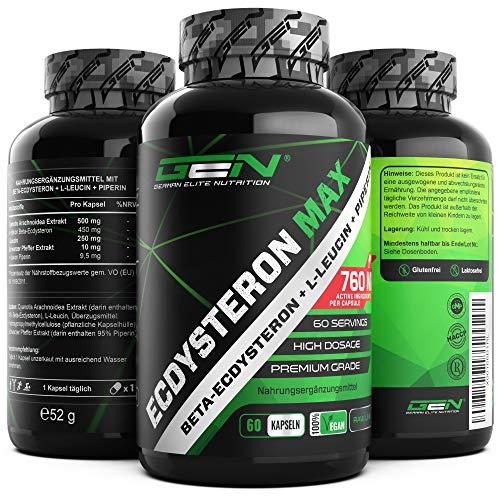 Ecdysteron Komplex - Hochdosiert mit 760 mg je Kapsel - Premium: 95% Beta-Ecdysteron + L-Leucin + Piperin - 60 Kapseln - Hochdosiert – Vegan