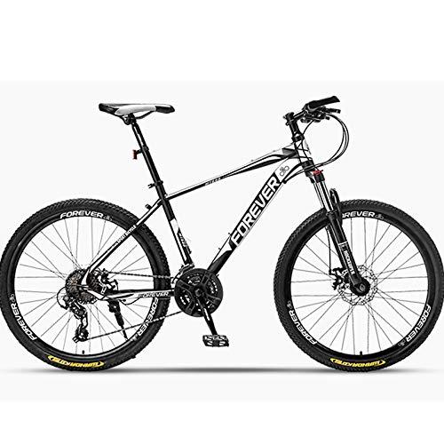 BNMKL 24/26/27.2 Inch Mountain Bike 24/27 Speed Hardtail Mountainbike MTB, Lightweight High-Carbon Steel Frame Bicycle for Men/Women,Black White,26In 27Speed