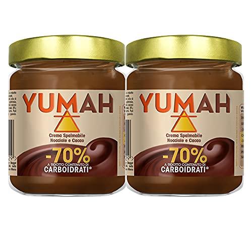 YUMAH - Crema di Nocciole Spalmabile -70% Carboidrati (2x200g); Ketofood; con Eritritolo; Zucchero ZERO Calorie; Cioccolato Low Carb; Dieta Chetogenica; Senza Zucchero; Ottimo Contenuto Proteico