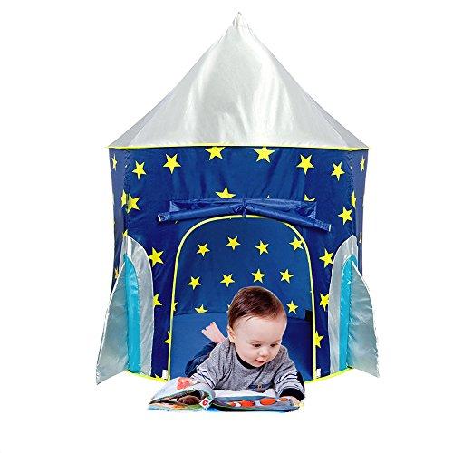 Kinder faltendes Zelt Baby Spielzeug Haus Stern Raketen Schloss Projektion Rocket Ship Spiel Zelt Raumschiff Spielhaus für Kinder