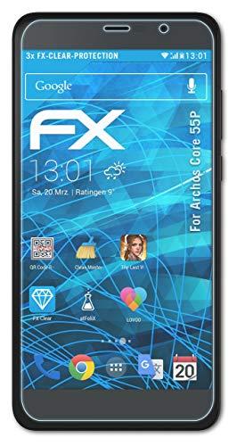 atFolix Schutzfolie kompatibel mit Archos Core 55P Folie, ultraklare FX Bildschirmschutzfolie (3X)