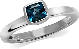 Genuine Cushion Cut London Blue Topaz 925 Sterling Silver Stack Stackable Solitaire Ring