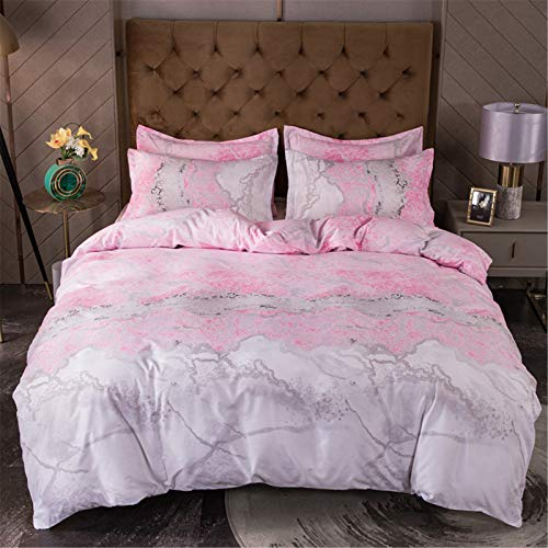 YYSZM Quilt Cover Bedding Home Textile Light Luxury Style Gilt Marble Pattern Hypoallergenic 3-Piece Set 220x240cm