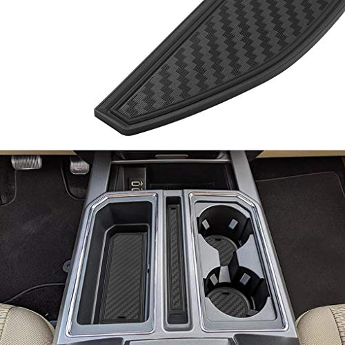 JIECHEN Custom Fit Cup Holder, Door, and Center Console Liner Accessories for Ford F-150 2017 2018 2019 2020 28-pc Set (Carbon Fiber Pattern - Black)