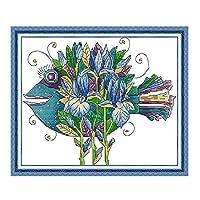 クロスステッチキット DIY 手作り刺繍キット マルチストランド綿糸ニットクロスステッチ刺繍キット- 花魚39x33cm(フレームレス)