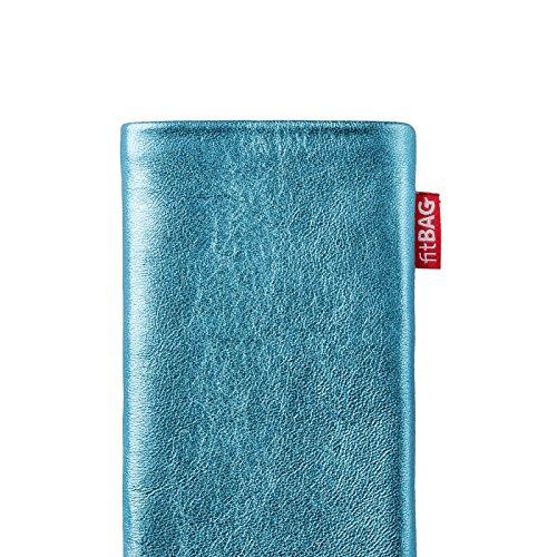fitBAG Groove Türkis Handytasche Tasche aus feinem Folienleder Echtleder mit Microfaserinnenfutter für Huawei Ascend Mate 2   Hülle mit Reinigungsfunktion   Made in Germany - 4
