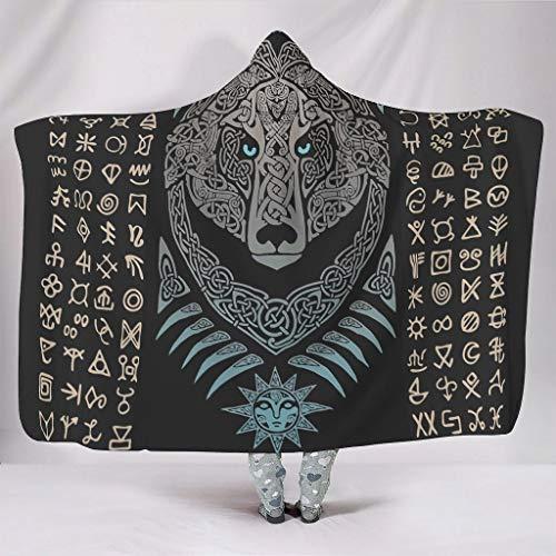 O2ECH-8 Oversized deken met capuchon, Viking Bear patroon, bedrukt bontdeken, fleece, super warm, draagbaar deken, robe hoodie - Viking past meisjes