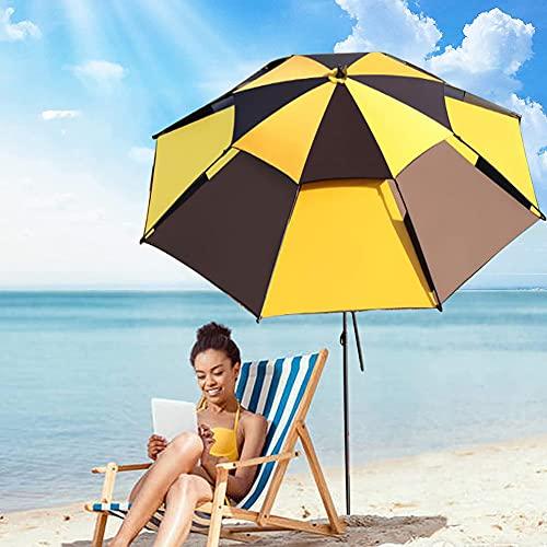 ELLENS Sombrilla de jardín de 2,4 m / 8 pies, sombrilla inclinable de 360 ° Que no se oxida para la Playa, Patio, balcón, Pesca, sombrilla, protección Solar UPF50 +