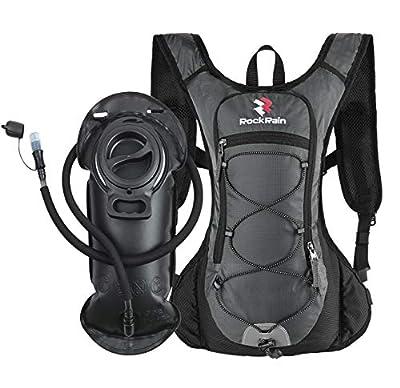 ROCKRAIN Windrunner Lightweight Hydration Pack with 2L BPA Free Water Bladder - Outdoor Sports Gear for Running, Cycling, Hiking, Biking, Camping (Dark Grey)