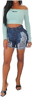 Zimaes Womens Jeans Tassel Denim High Waist Sexy Shorts