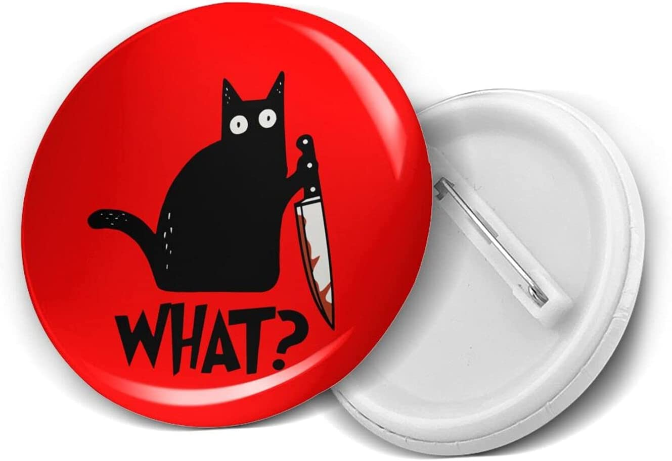 Cat What 1.2/1.8/2.3 Inch Round Pins Brooches Button Medal Tinplate Brooches Emblem Adult Children Pin Badges Decor for Backpacks Costume