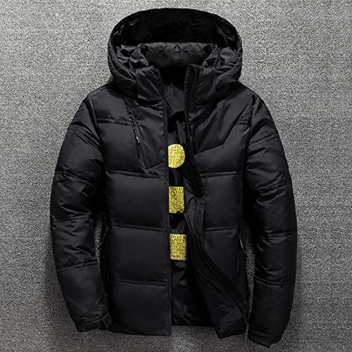 HDDNZH Down Jacket,Winter Warm Men Jacket Coat Casual Autumn Stand Collar Puffer Thick Hat White Duck Parka Male Men'S Winter Down Jacket With Hood,Black,163Cm 45Kg Size M