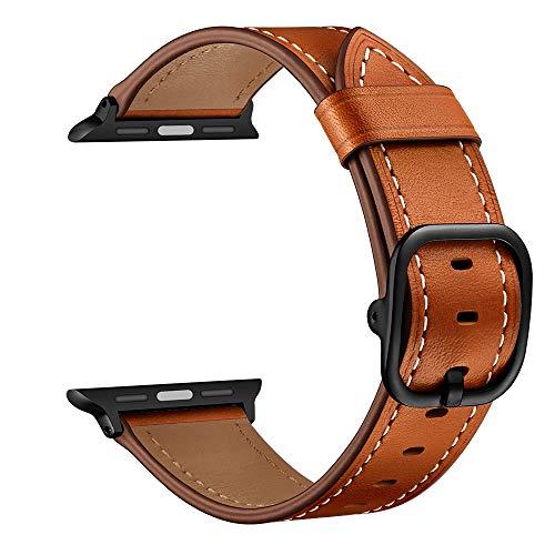 YoChYi Compatible con Apple Watch Series 6 SE 5 4 3 2 1 38mm 40mm 42mm 44mm Correa, Banda de Repuesto con Hebilla de Cuero de Vaca (Brown, 3840mm)