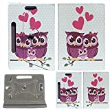 "7inch Tablet Case Cover - Colourful Stuff Custodia universale per tablet in ecopelle, con supporto, rotante a 360°, adatto per tutti i Tablet Android da 7"" (Family Owl)"