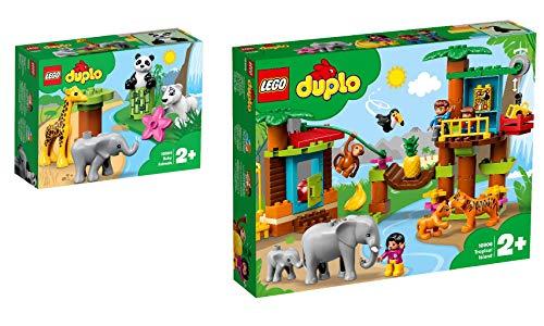 Lego Duplo Town 2er Set: 10904 Süße Tierkinder + 10906 Baumhaus im Dschungel