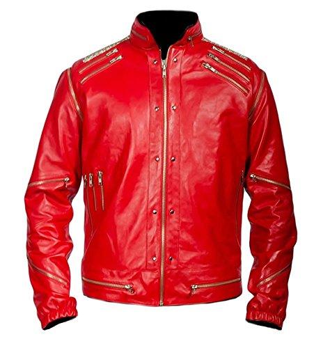 Bestzo Men's Fashion Michael Jackson Beatit Jacket Lamb Leather Red XXL