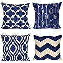 "4-Pack Weyon 18""x18"" Geometric Throw Pillow Covers"
