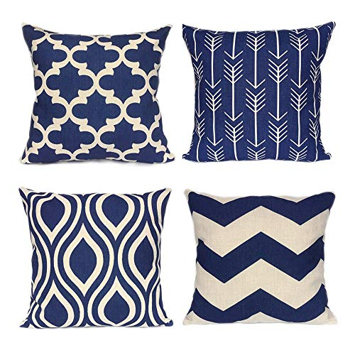 WEYON Geometric Throw Pillow Covers Navy Blue Home Deco Outdoor for Sofa Couch Cotton Linen 18 X 18 Inch , Set of 4