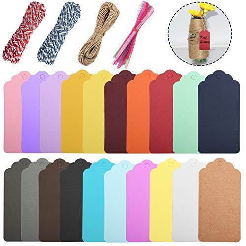 Udefineit 200PCS papel del arte de las etiquetas, de 20 colores diferentes Kraft etiquetas del regalo, etiquetas colgantes Pricemarker con cuerdas para embalaje del regalo etiquetas, para el bricolaje