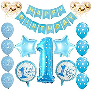 20 pcs/set Blue Foil Balloons Baby First Birthday - Boy Anniversary Party Decoration - I AM ONE Year Celebration - Helium ...