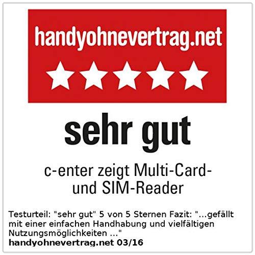 c-enter SIM Kartenleser: Multi-Card- und SIM-Reader mit aktivem USB-2.0-Hub, 3 Ports (Multicard Reader)