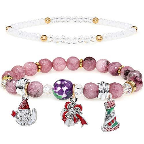 YooAi Multilayer Perlen Armbänder Bunte Natur Stein Yoga Perlen Armbänder Weihnachten Elastic Rope Adjust Bracelets Schmuck Geschenk Für Frauen Weihnachtsbaum Elfen Lila