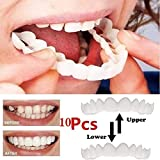 FTNJG Teeth Denture Cosmetic Comfort fit snap Temporary Dental Prosthesis Teeth - Upper Braces Lower Braces Whitening Teeth Perfect Smile One Size Fits Most 10 Pair