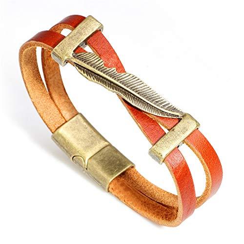 CaoDquan Heren Armband Vintage Metalen Veer Lederen Armband Eenvoudige Heren Brede Armband Manchet Armband Gepersonaliseerde Heren Armband