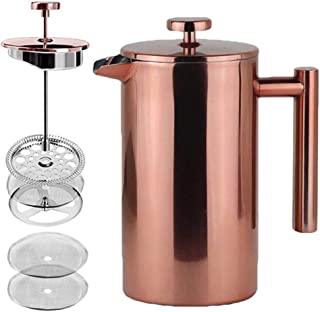 LA JOLIE MUSE French Press Coffee Maker Copper Finished,Double Walled Insulated Stainless Steel Coffee Press,2 Extra Screen Filters,34 oz 8 Cup, Thanksgiving Decor