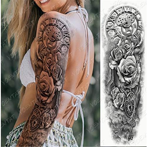 YCYY Large Arm Sleeve Tattoo Lion Crown King Rose Waterproof Temporary Tatoo Sticker Wild Wolf Tiger Men Full Skull Totem Tatt