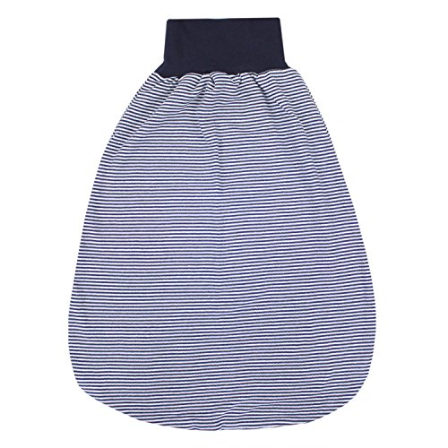 TupTam Unisex Baby Strampelsack mit breitem Bund Unwattiert, Farbe: Streifenmuster Dunkelblau, Größe: 6-12 Monate