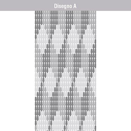 VERDELOOK Tenda per Porta in Piastrina di PVC, Dimensioni: 120x240 cm, Fantasia a cubi Grigi