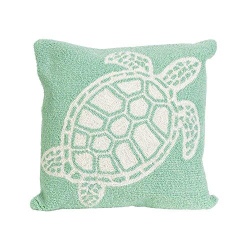 "Liora Manne Frontporch Turtle Indoor/Outdoor Pillow Green 18"" Square"