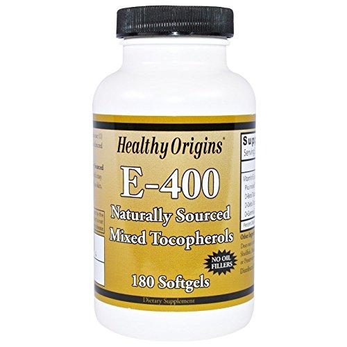 Healthy Origins, E-400, 100% Natural Mixed Tocopherols, 180 Softgels