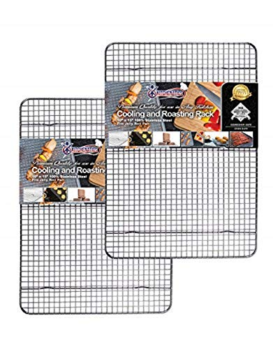 KITCHENATICS 100% Stainless Steel Roasting and Cooling Rack Fits Jelly Roll Pan, Rust Proof Rack with Patent-Pending Extra Welds & Wire Grid, Use for Oven & Grill, Non-Toxic, 10' x 15' x 1', Set Of 2